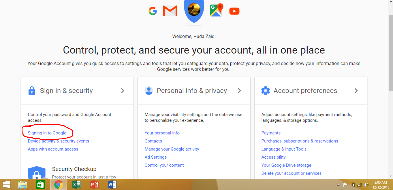 open the security settings to change Gmail password
