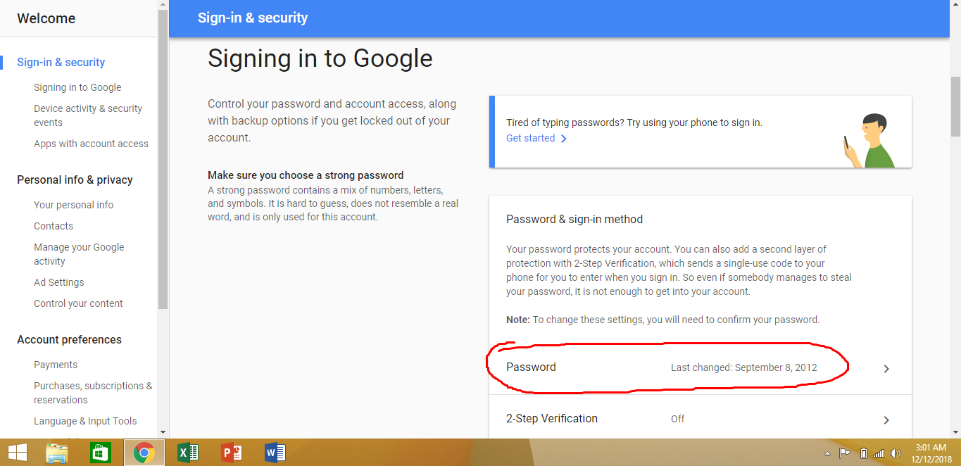 changing the Gmail password
